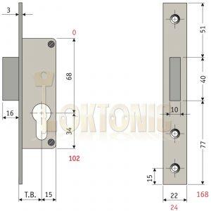 Enfield 25mm Narrow Stile Van Door Shed Gate Garage Mortice Euro Deadlock case