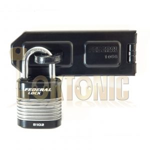 FEDERAL HIGH SECURITY VAN SHED GATE HASP STAPLE AND PADLOCK COMBO FD1056 FD8102