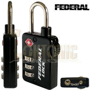 Federal 3 Dial TSA Combination Padlock Resettable Luggage Travel Suitcase Lock