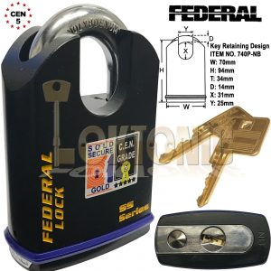 Federal 70mm Heavy Duty Shrouded Solid Steel Sold Secure Gold CEN 5 Padlock