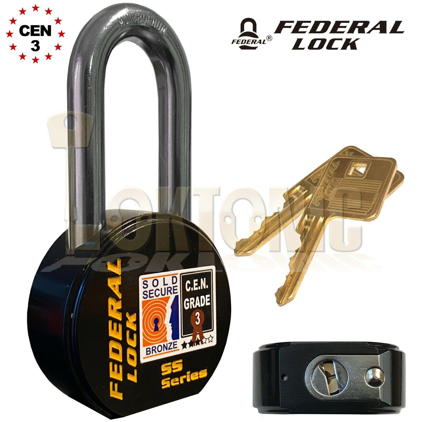 Federal 902 Sold Secure CEN Grade 3 Heavy Duty Solid Steel Long Shackle Padlock