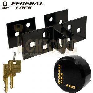 Federal FD6336 Solid Steel Bracket Hasp + Puck Lock  Padlock Shed Van Garage