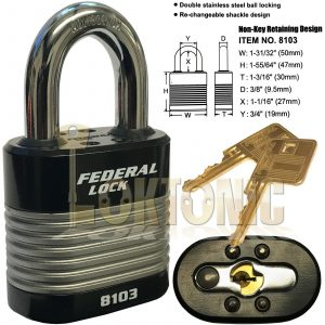 Federal FD8103 High Security 6 Pin Re-Keyable Steel Padlock Gates Shed Garage