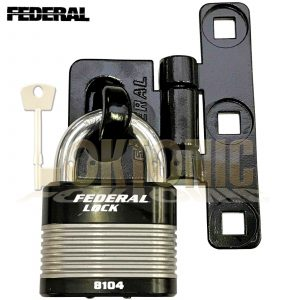 Federal Heavy Duty FD8104 Solid Padlock And Vertical T-Shape Hasp Staple Combo