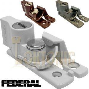 Federal Key Locking Sash Window Lock Fastener Turn Latch Catch White Silver FDSL
