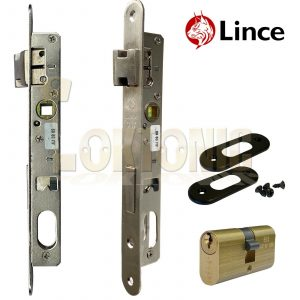 Lince Mortice Narrow Stile Sash Lock With Small Oval Cylinder UPVc Aluminium