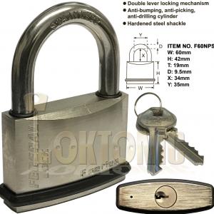 2 Federal Weather Resistant Waterproof Shackle Brass Padlock 60NPS With 20 Keys