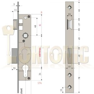 Enfield Euro Mortice Door Sash Lock Body Profile Narrow Case 20mm 25mm 30mm D726