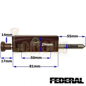 Federal Brown Sliding Multi Purpose Door Window Patio Security Locking Bolt Lock
