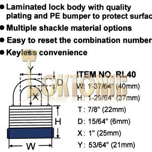Federal ER40 Resettable Steel Laminated Combination Padlock Toolbox Cupboard