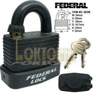 Federal FD803W-BK-KA#3002 Weather Resistant Waterproof Steel Padlocks