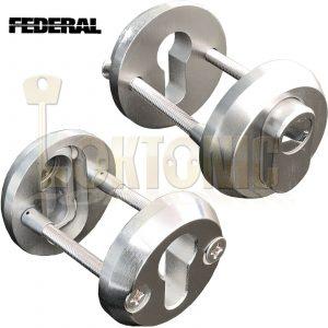 Federal High Security Solid Hardened Steel Bolt Through Euro Escutcheons