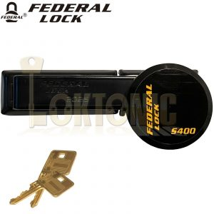 Federal Combo Security Hardened Steel Hasp and Staple + Shackless Puck Padlock