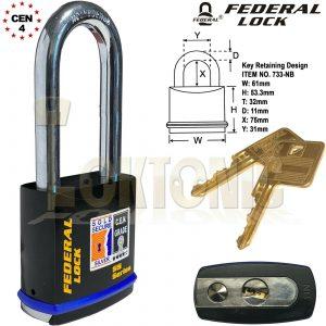 Federal FD733 Sold Secure Silver CEN  4 Super Heavy Duty Solid Steel Padlocks