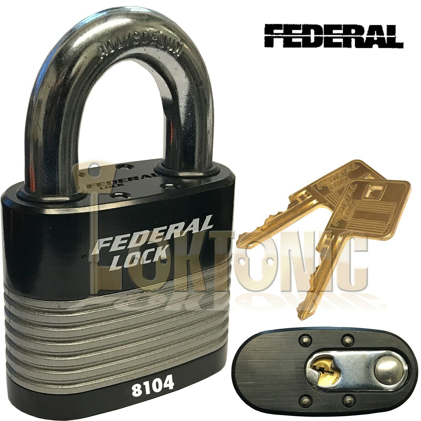 Federal FD8104 High Security 6 Pin Re-Keyable Steel Padlock Gates Shed Garage
