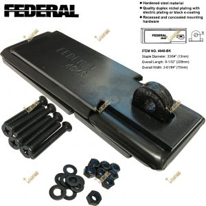 Federal High Security Hardened Steel Hasp and Staple + Shackless Puck Padlock