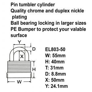 Federal High Security Weather Resistant Long Shackle Steel Padlock EL803-50