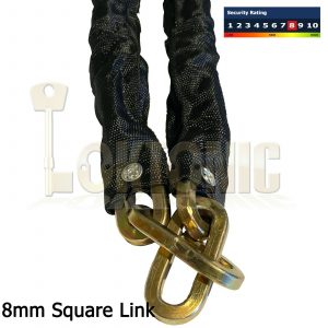 Square Link 8mm Security Bike Chain Manganese Hardened Steel Bicycle Shed Gate