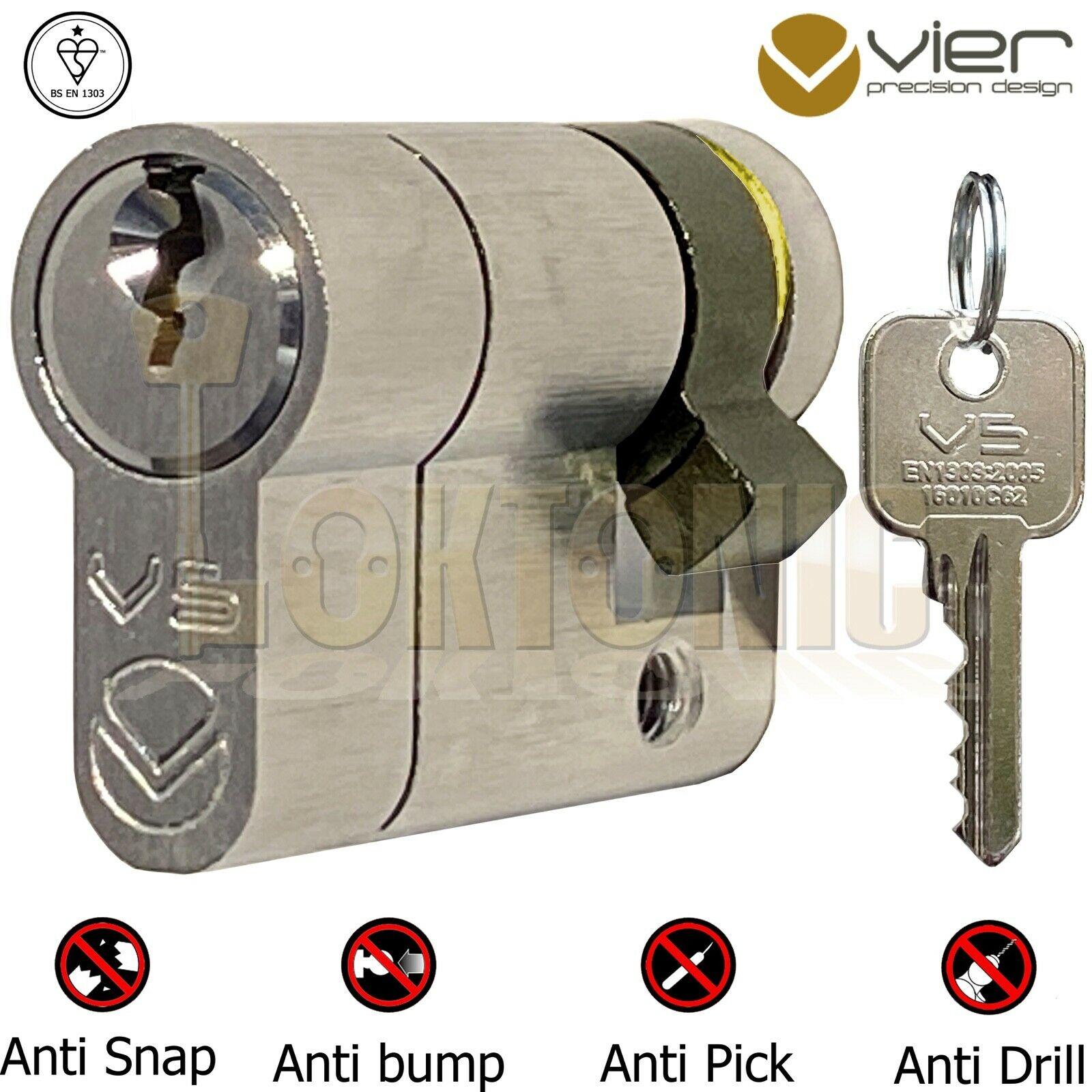 Vier V5 Garage Van Door Roller Shutter Key Switch Half Euro Cylinder Lock Barrel