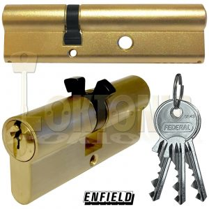 Enfield PAIR of Rim Mortice Banham Type Nightlatch Euro Deadlock Cylinder Barrel