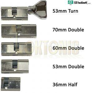 Facchinetti Small Oval Polished Chrome Double Thumb Turn Half Cylinder Locks
