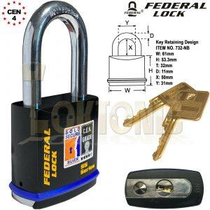Federal FD732 Sold Secure Silver CEN  4 Super Heavy Duty Solid Steel Padlocks