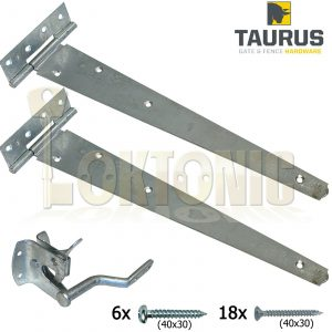 """Galvanised Pedestrian Gate  Kit 14"""" Hinges And Auto Gate Latch Includes Fixings"""