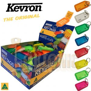 Kevron Plastic Heavy Duty Key Click Tags Labels Assorted Colours Fobs Card ID