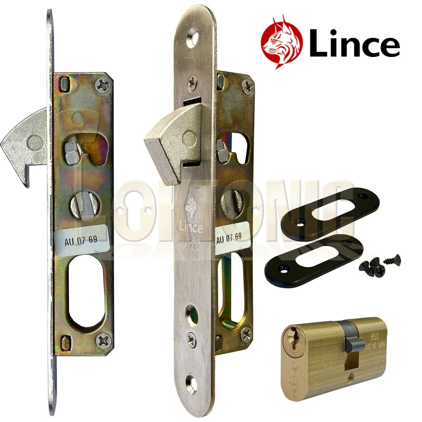 Lince Mortice Narrow Stile Sliding Hook Lock With Small Oval Cylinder UPVc
