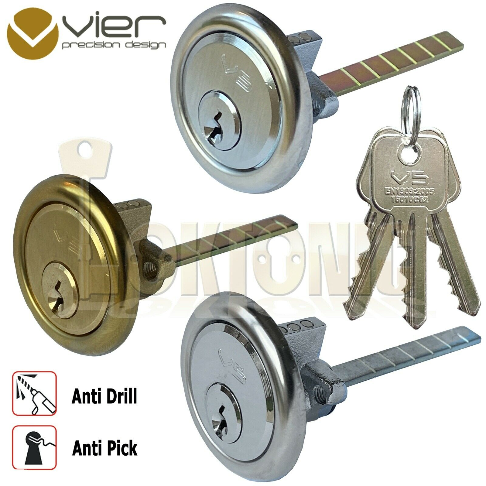 Rim Cylinder V5 Night Latch Door Lock Chrome Brass Satin Yale Type 3 Keys