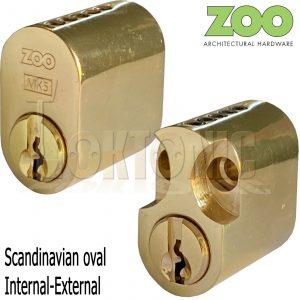 Zoo 5-Pin Scandinavian Oval lock External Internal Cylinder Brass Finish Barrel