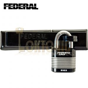 FEDERAL HIGH SECURITY VAN SHED GATE HASP STAPLE AND PADLOCK COMBO FD2025+FD8103
