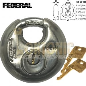 Federal FD1000 Heavy Duty 70mm High Security Stainless Steel Disc Padlock