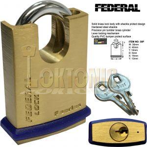 Federal FD30P KA3001 Shrouded Solid Brass Padlock Hardened Shackle Keyed Alike