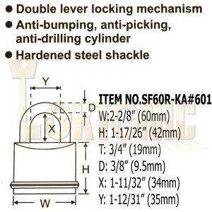Federal SF60R KA#601 Solid Brass Padlock Keyed Alike For Garage Shed Van Gate