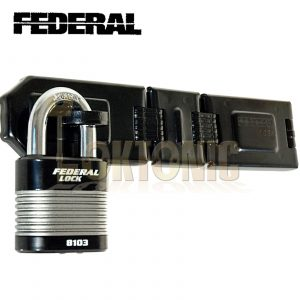 FEDERAL HIGH SECURITY VAN SHED GATE HASP STAPLE AND PADLOCK COMBO FD1085 FD8103