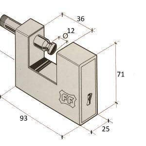 Facchinetti F8390 Fully Armoured Container Steel Roller Shutter Garage Padlock