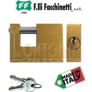 Facchinetti Solid Rectangular Brass 56mm Block Lock Shutter Shed Van Padlock