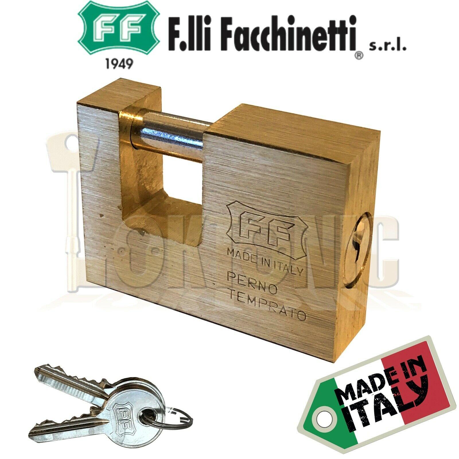 Facchinetti Solid Rectangular Brass 56mm Block Lock Shutter Shed Van Padlock