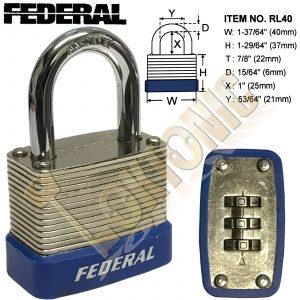 Federal RL40 Resettable Steel Laminated Combination Padlock Toolbox Cupboard