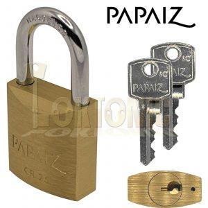 PAPAIZ CR25KA Brass Padlock Shed Gate Locker Suitcase Travel Made In Brazil