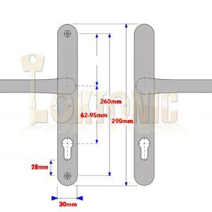 Window Parts Flexi Repair UPVC Door Handle Pair Adjustable 59-96mm PZ 260mm