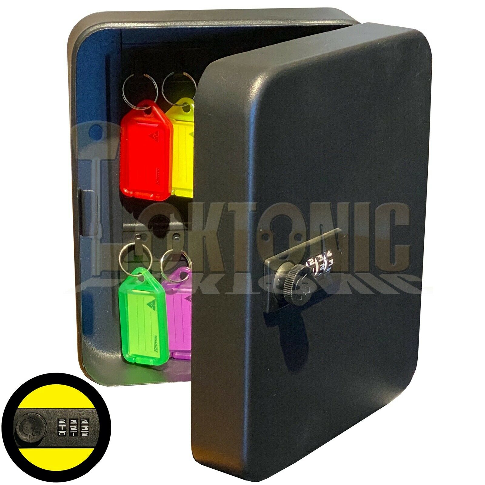 20 Hooks Wall Mounted 3 Digit Combination Lock Key Safe Storage Box Cabinet