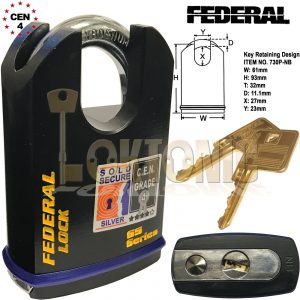 Federal 61mm Heavy Duty Shrouded Solid Steel Sold Secure Silver CEN 4  Padlock