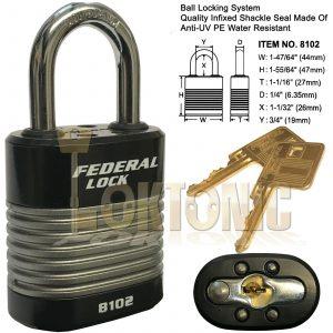 Federal FD8102 High Security 6 Pin Re-Keyable Steel Padlock Gates Shed Garage