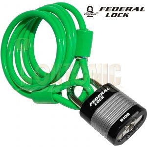 Federal Green Bike Bicycle Security 6.3mm Spiral Steel Cable Chain And Padlock