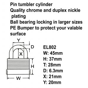 Federal High Security Weather Resistant Waterproof Shed Steel Padlock EL802