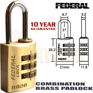 Federal RB20 Resettable Solid Brass combination padlock luggage toolbox cupboard