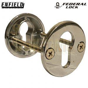 Federal Tough Security Die-Cast Steel Bolt Through Euro Escutcheon Chrome Polish