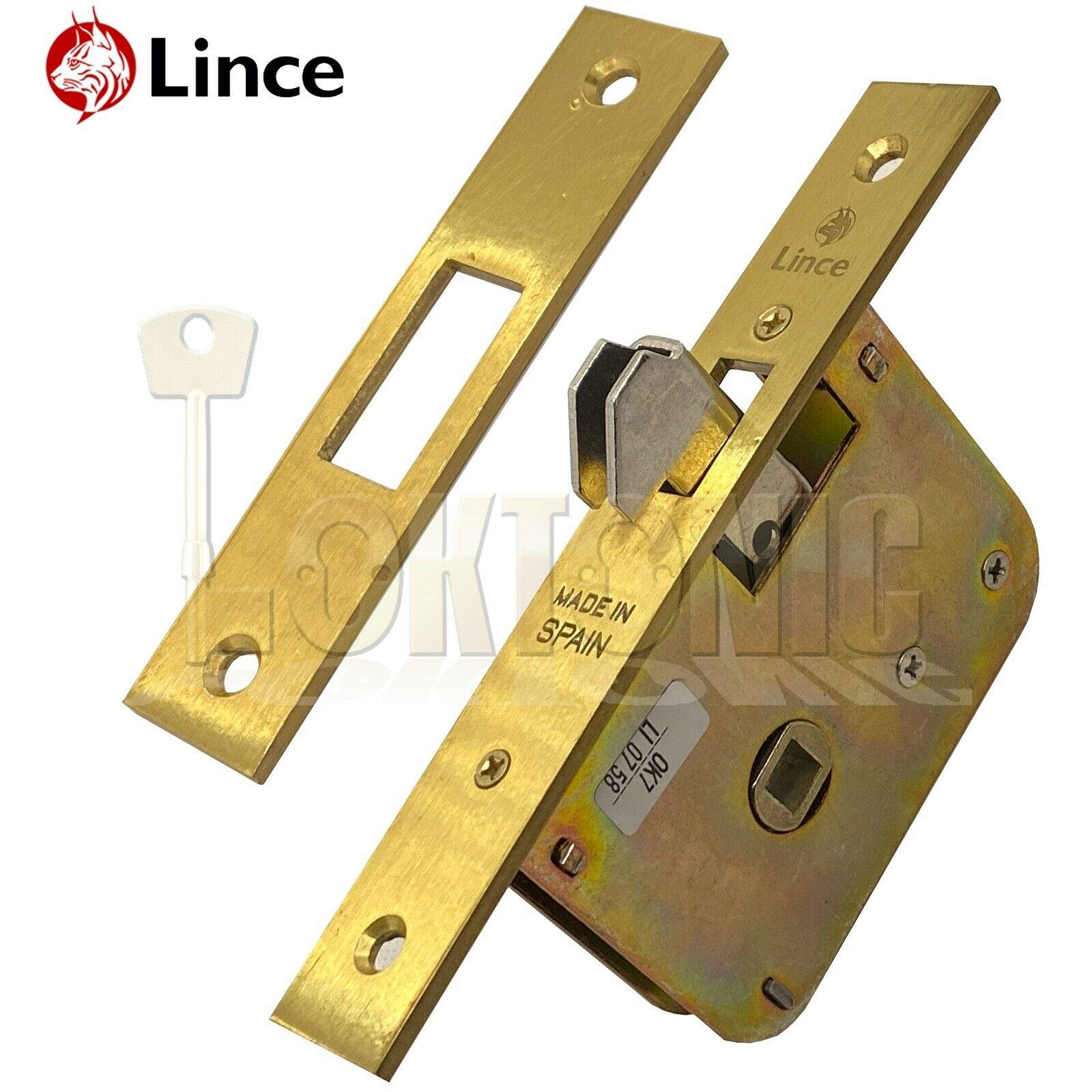 Lince L5490-50 Mortice Sliding Auto Locking Hook Lock 8mm Spindle With Strike